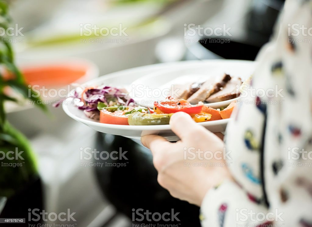 Tasty food on the plate stock photo