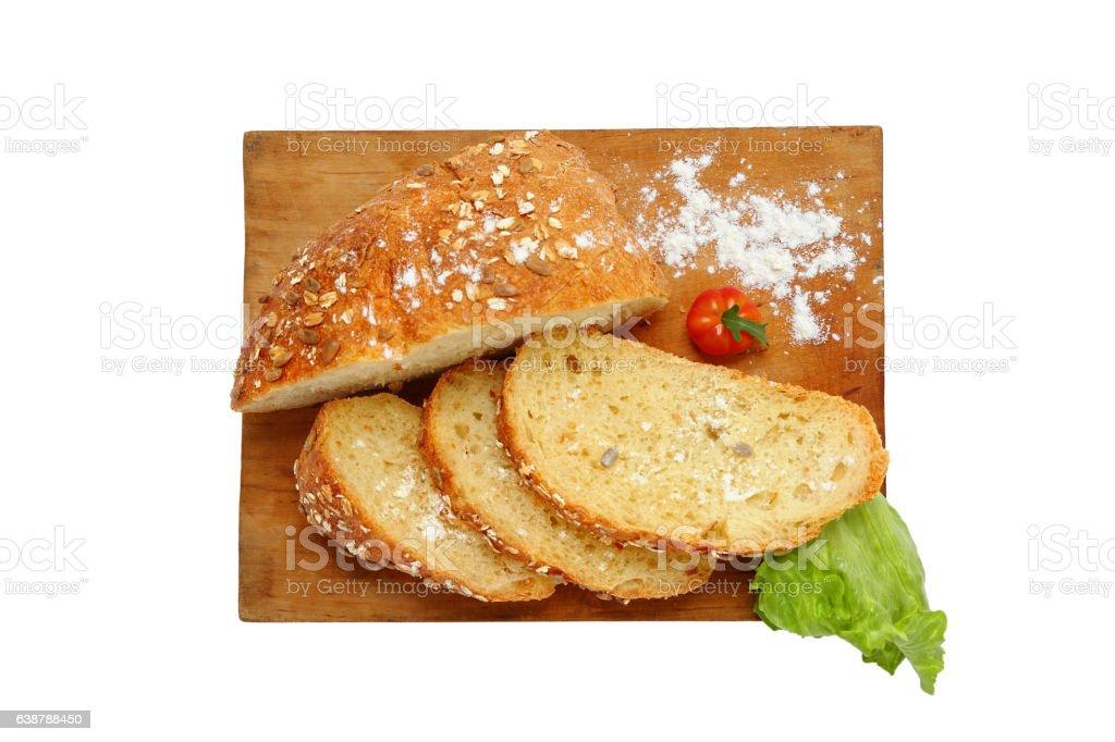 Tasty fresh bread for breakfast. stock photo