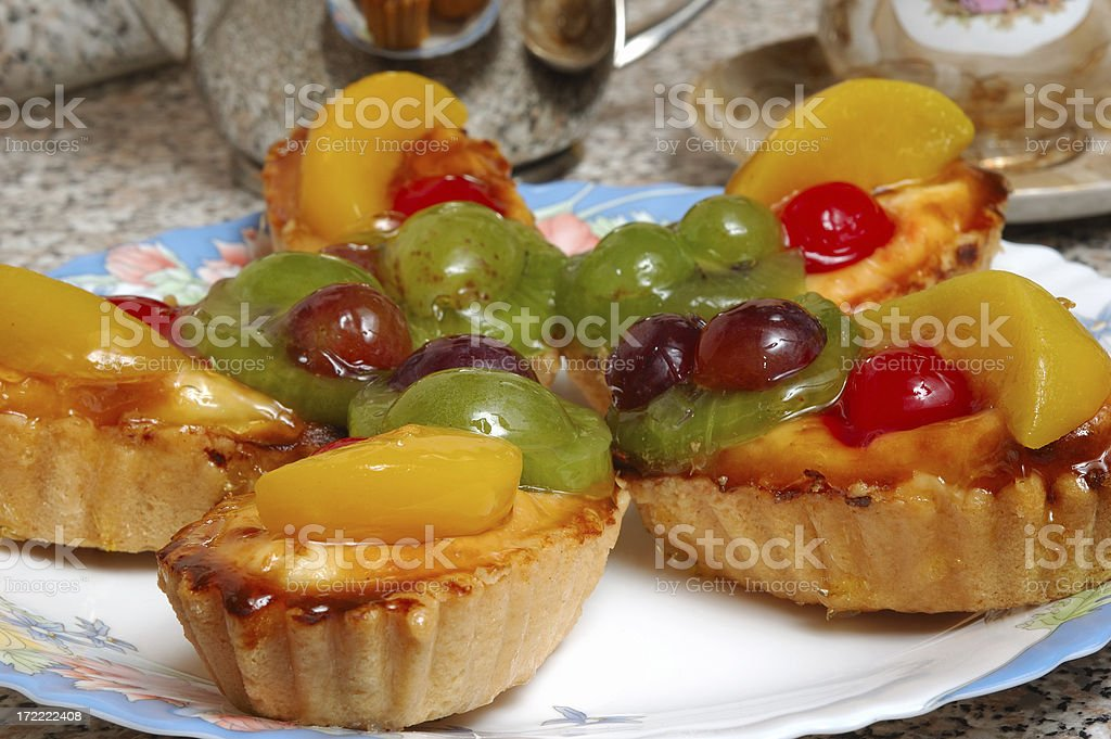 Tasty Fresh Low-calorie Fruit Cakes royalty-free stock photo