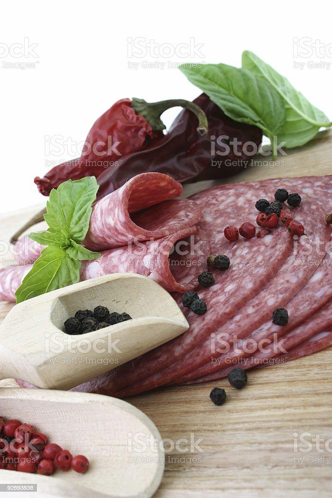 Tasty fresh slices Salami. royalty-free stock photo
