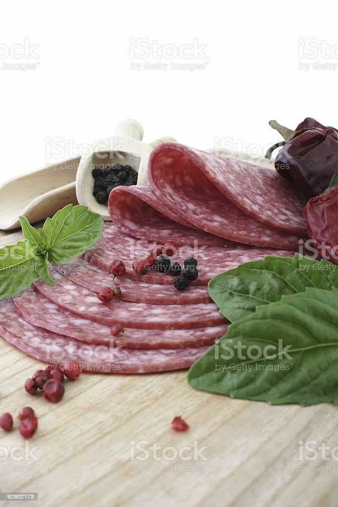 Tasty fresh slices Salami. stock photo