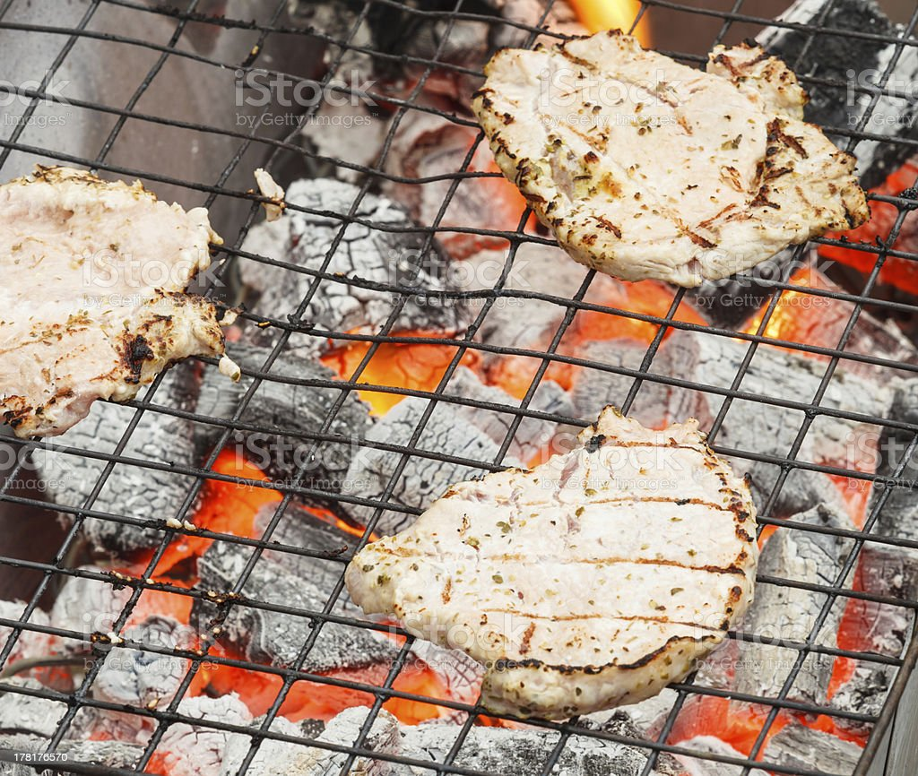 Tasty grill pork on a charcoal. royalty-free stock photo