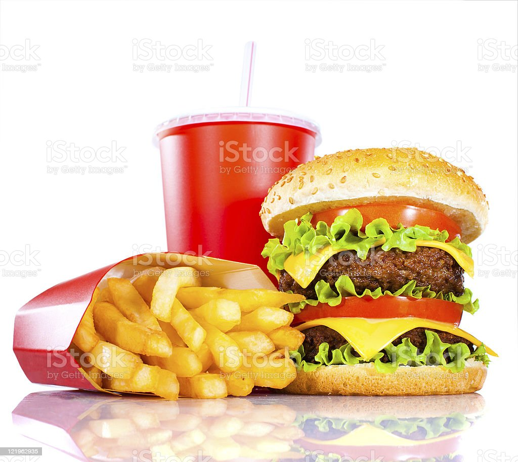 Tasty hamburger and french fries stock photo