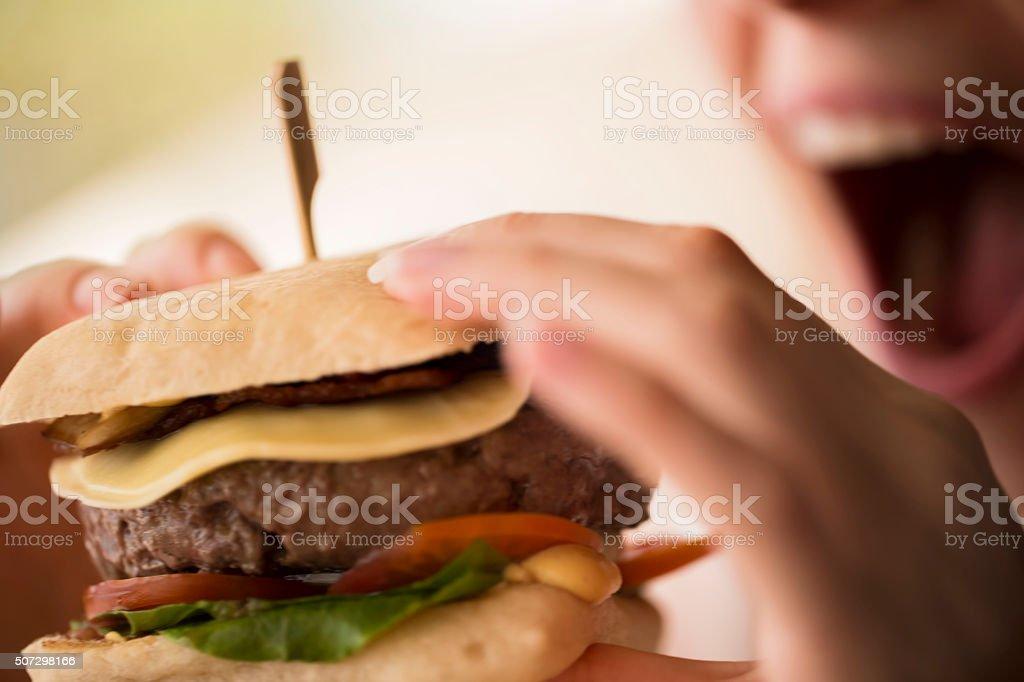 Tasty hamburger stock photo