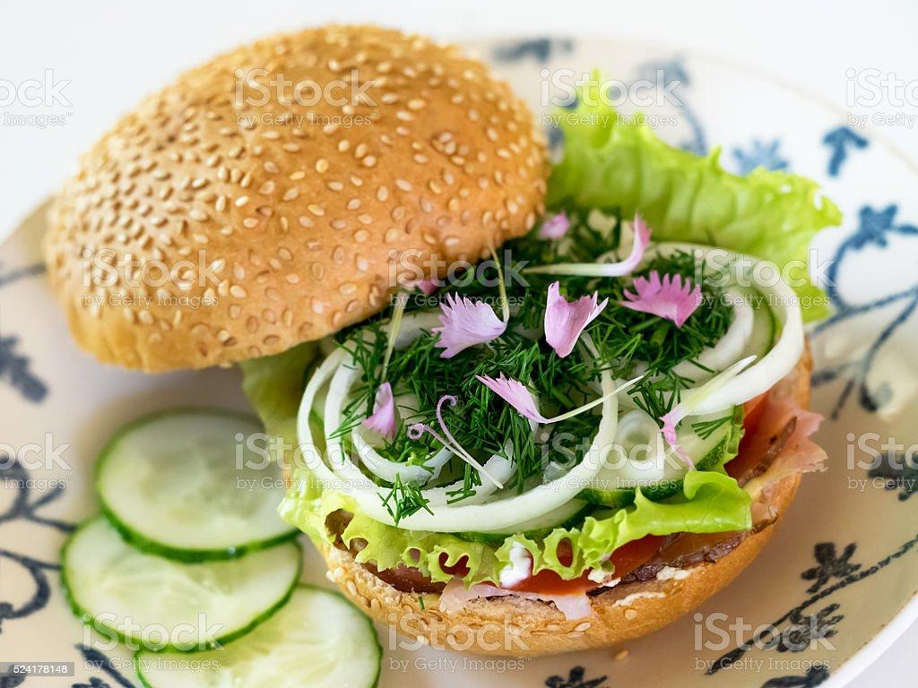 Tasty hamburger with salad royalty-free stock photo