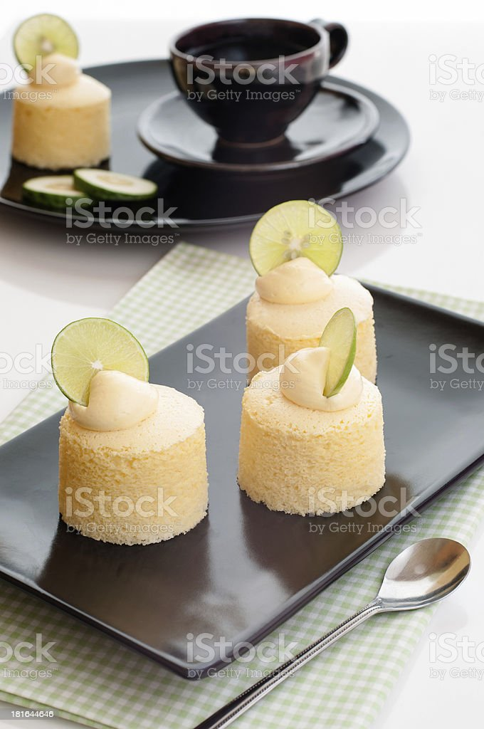 Tasty homemade japanese cheesecake with butter creamcheese. stock photo