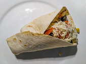 Tasty homemade kebab with vegetables and chicken meat.