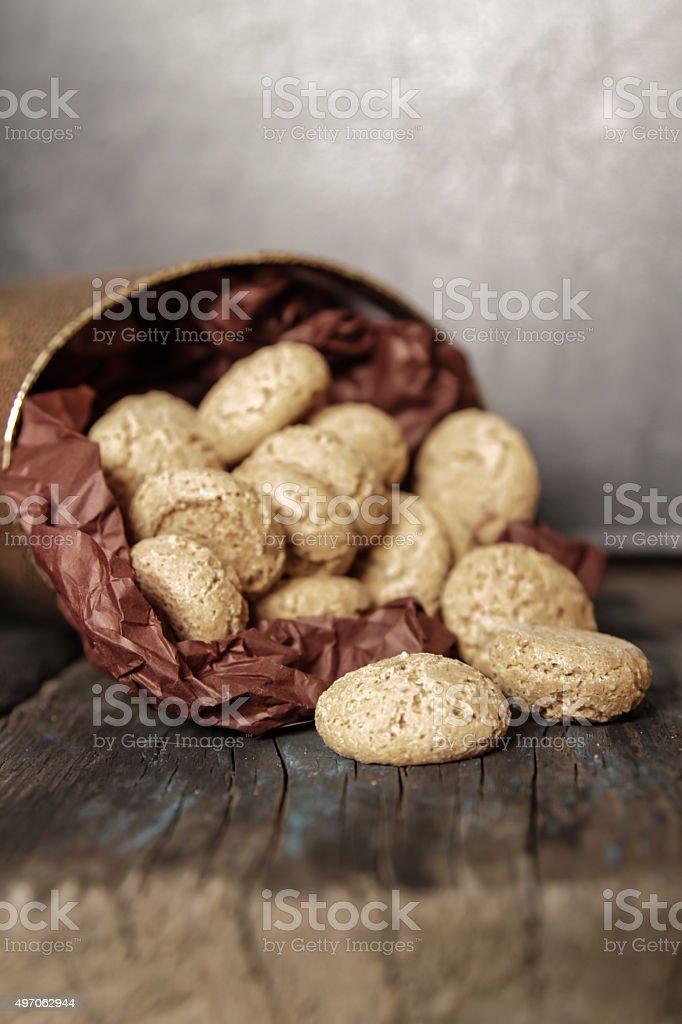 Tasty Italian amaretti cookies stock photo