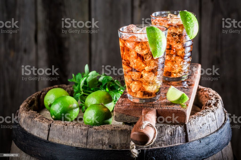 Tasty Long Island drink with lime and ice stock photo