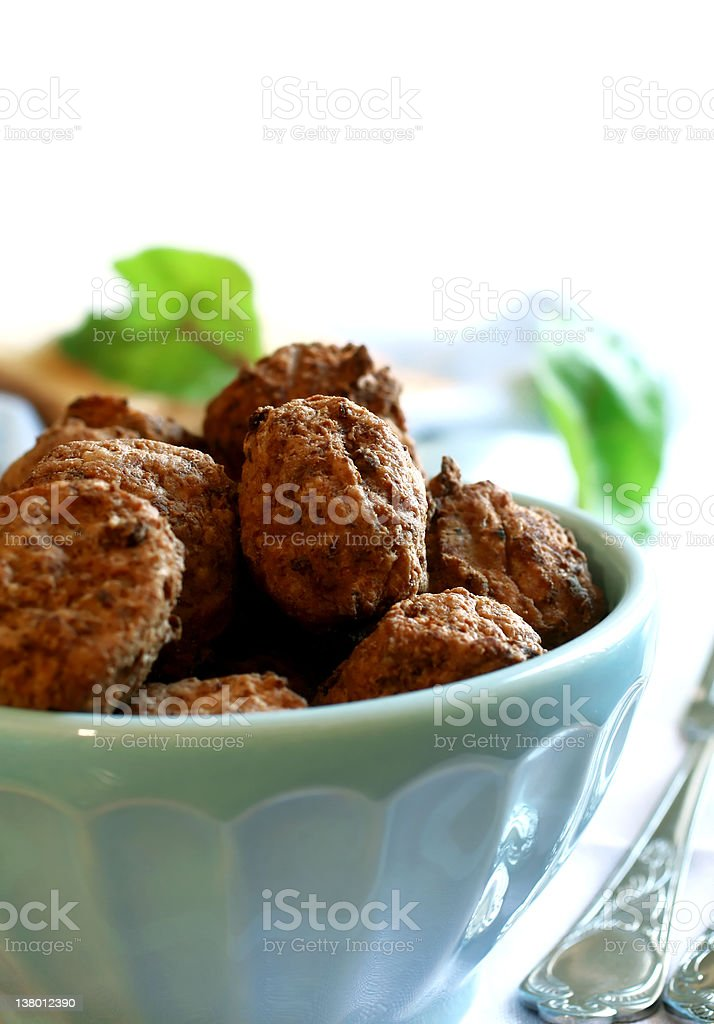 tasty meatballs in bowl royalty-free stock photo