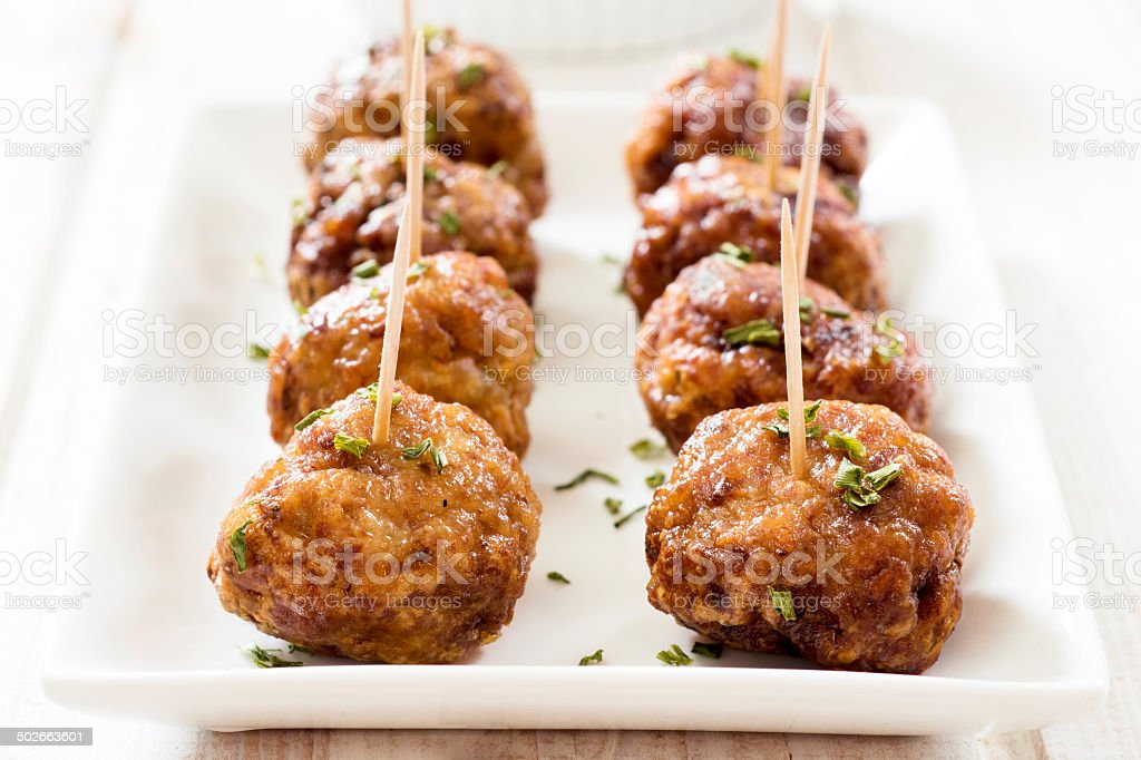 Tasty meatballs stock photo