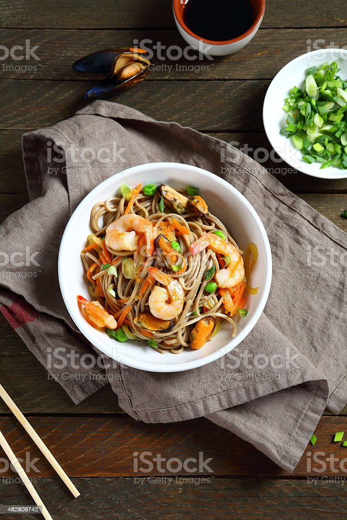Tasty noodles with shrimp stock photo