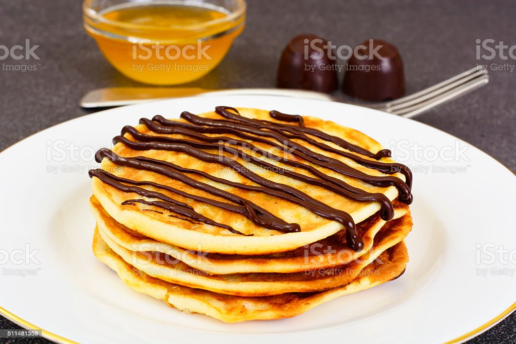 Tasty Pancakes with Chocolate Stack stock photo