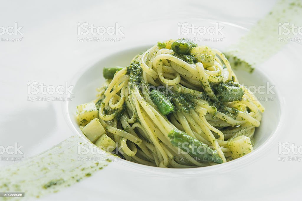 tasty pasta with asparaguson stock photo
