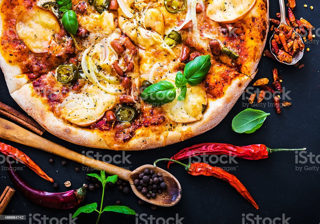 tasty pizza stock photo