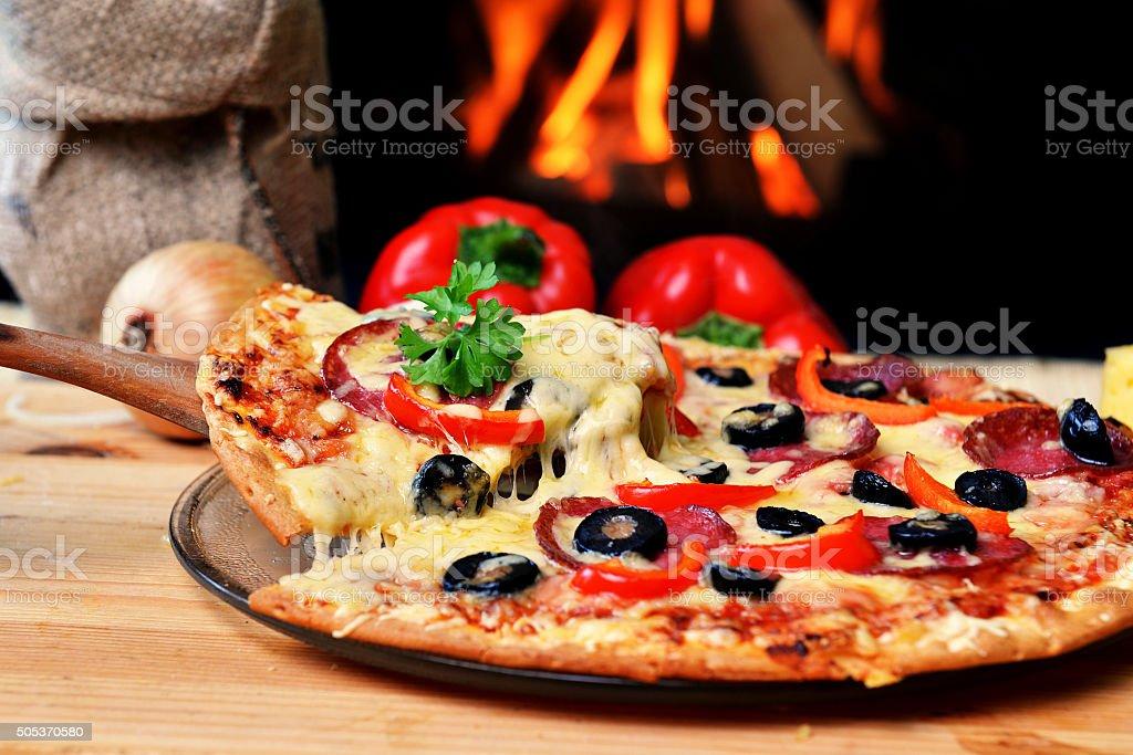 tasty pizza stock photo