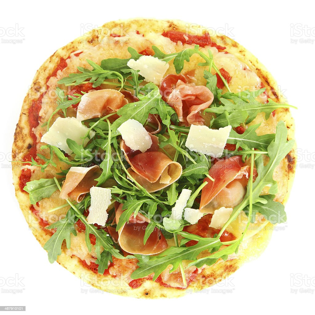 Tasty pizza with prosciutto ham and rocket royalty-free stock photo