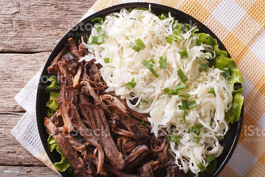 Tasty Pulled Pork and sauerkraut closeup on a plate. Horizontal stock photo
