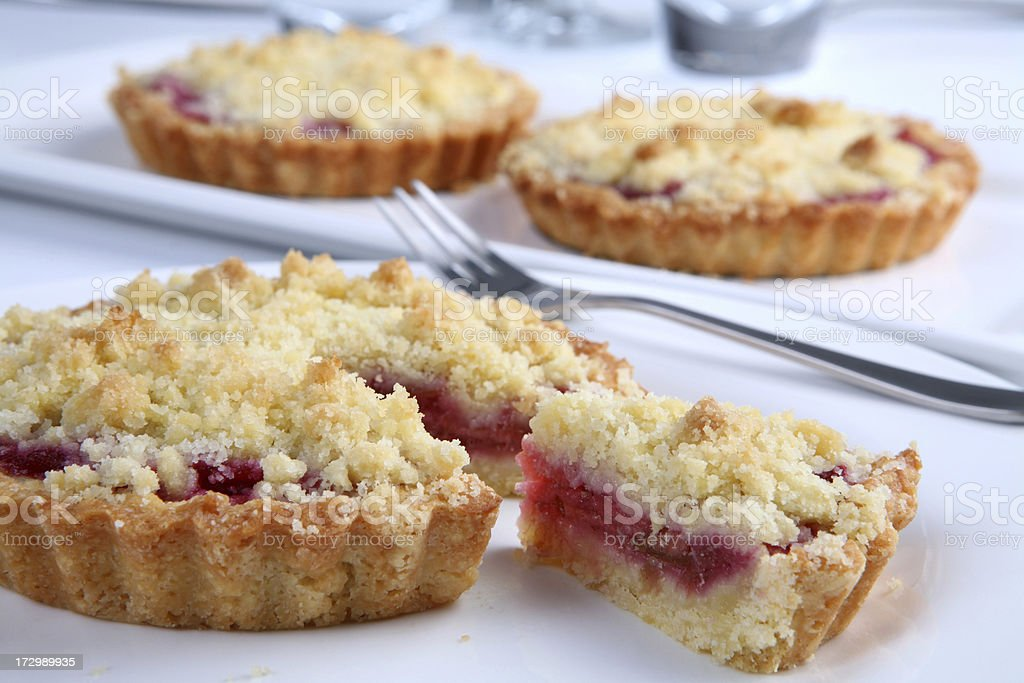 Tasty Rhubarb and apple flan tarts royalty-free stock photo