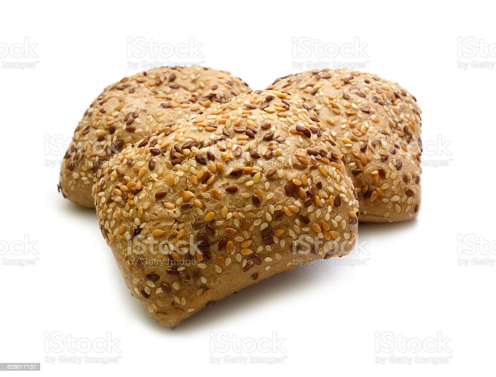 Tasty rolls with sesame seeds stock photo