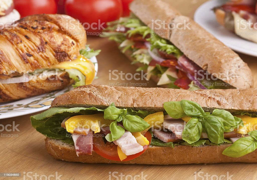 tasty sandwiches close-up royalty-free stock photo
