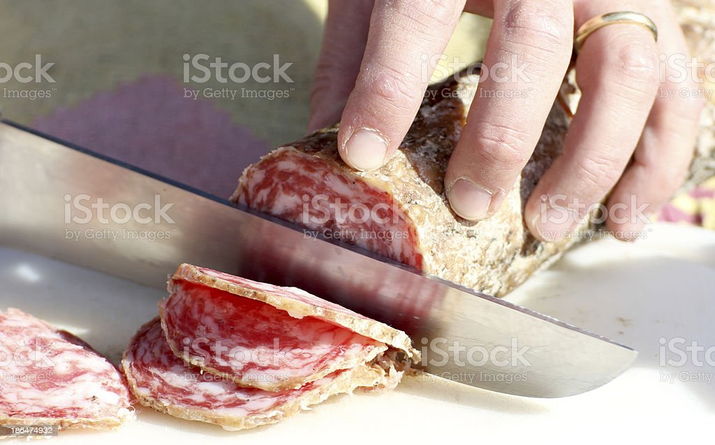 tasty sausage slices to fill a sandwich royalty-free stock photo