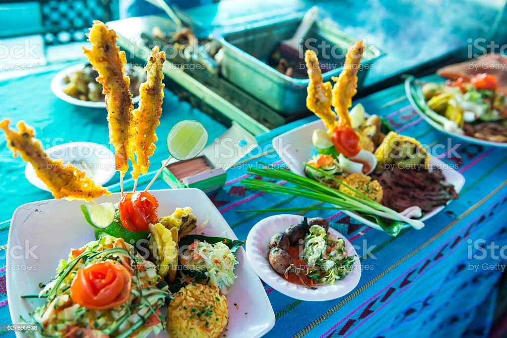 Tasty sea food at a stall in San Salvador stock photo