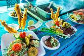 Tasty sea food at a stall in San Salvador