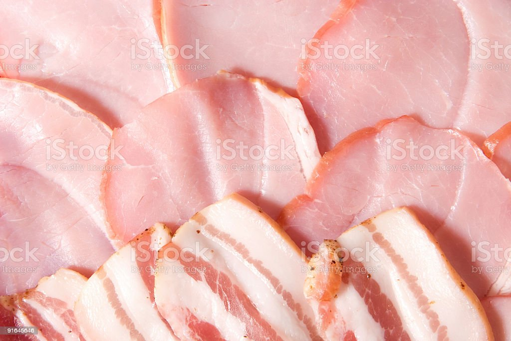 Tasty selected ham closeup stock photo