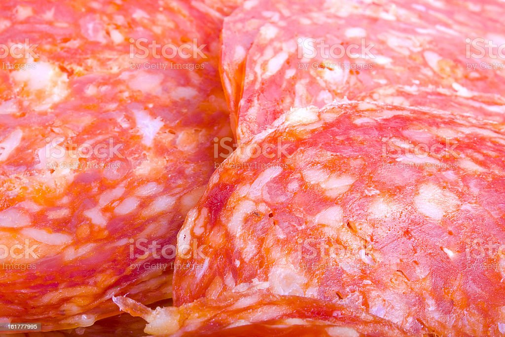 Tasty Sliced Genoa Salami Close up stock photo