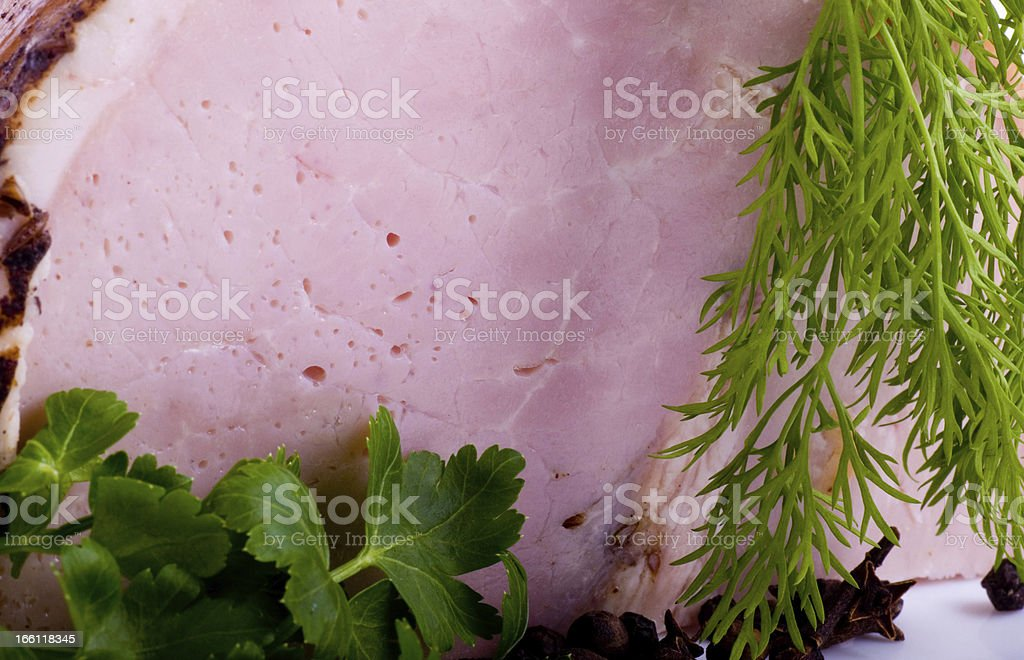 Tasty smoked meat with spaces royalty-free stock photo