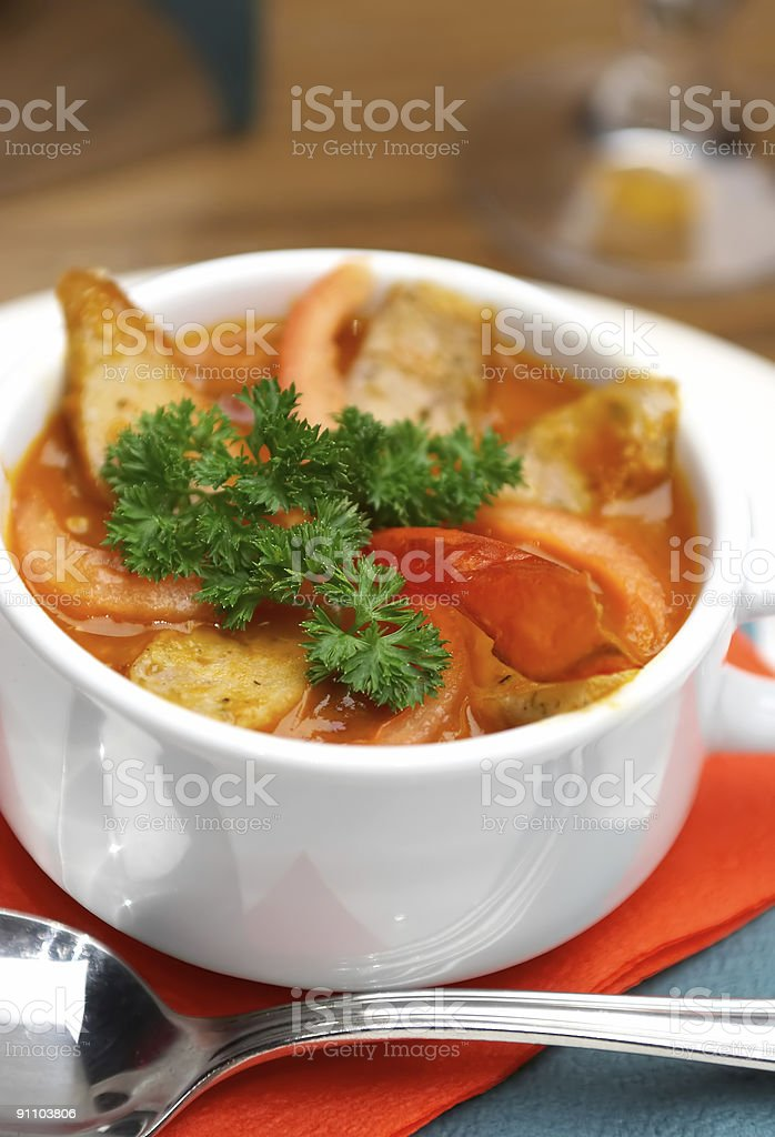 Tasty soup on a table at restaurant royalty-free stock photo