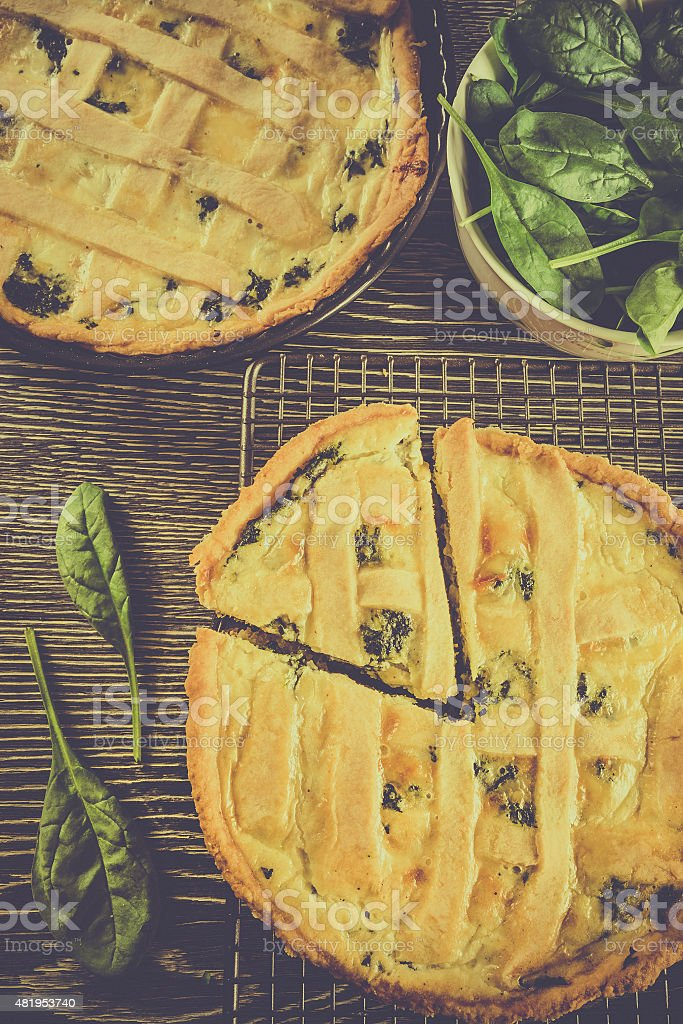 Tasty spinach tart stock photo