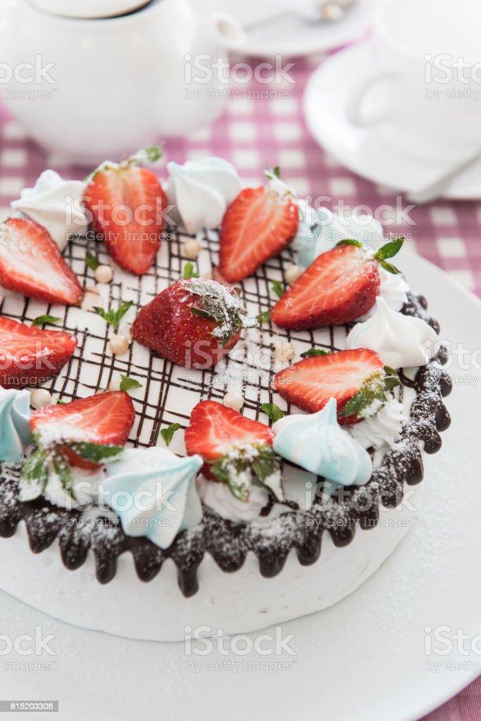 Tasty strawberry cream cake stock photo