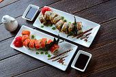 Tasty sushi rolls