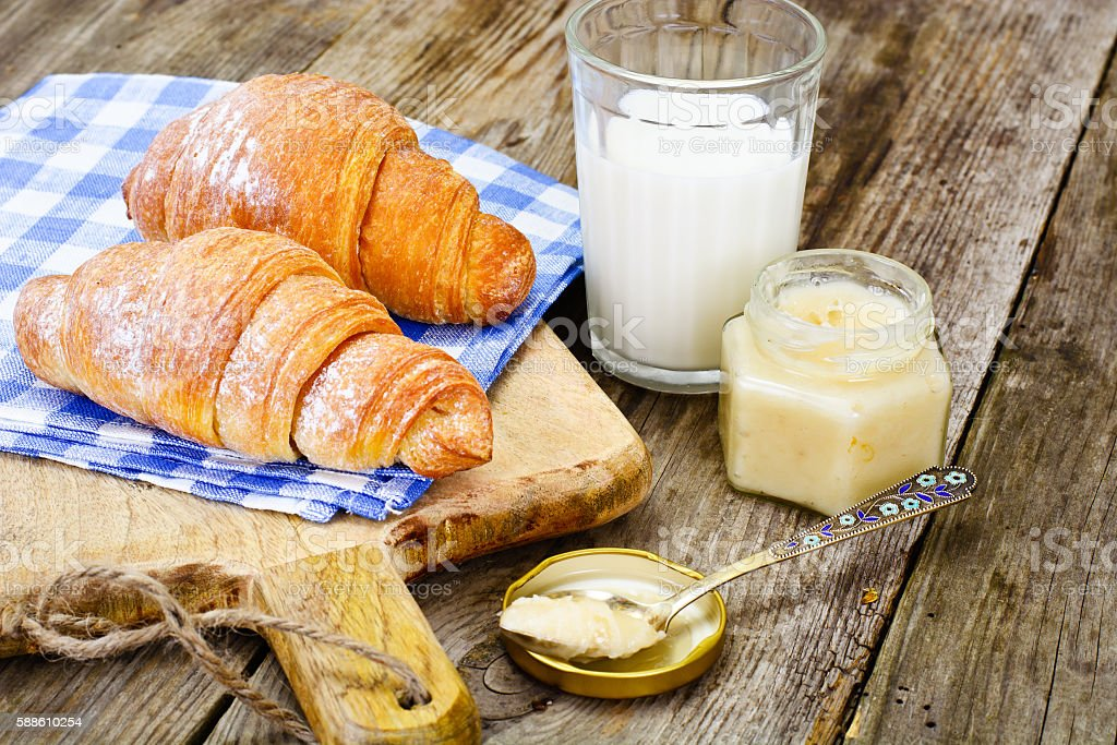 Tasty Sweet Croissant with Milk stock photo