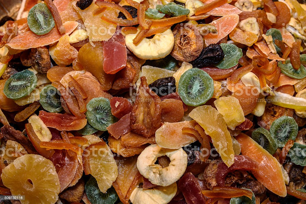 Tasty sweet mix colorful dried tropical exotic fruits stock photo