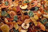 Tasty sweet mix colorful dried tropical exotic fruits