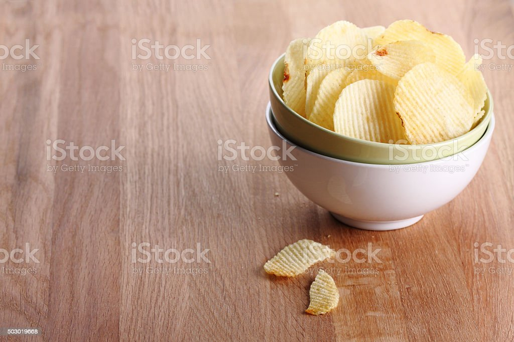 tasty traditional potato chips snacks stock photo