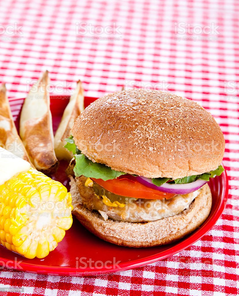 Tasty Turkey Burger royalty-free stock photo
