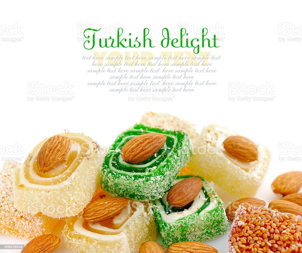 Tasty Turkish delight with almond isolated on white background stock photo