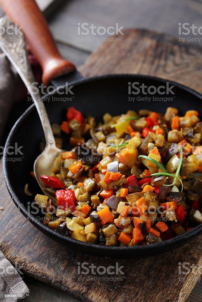 tasty vegetarian ratatouille in pan stock photo