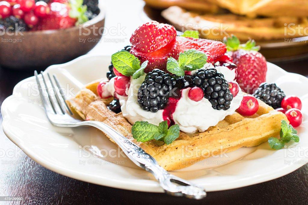 Tasty waffles stock photo