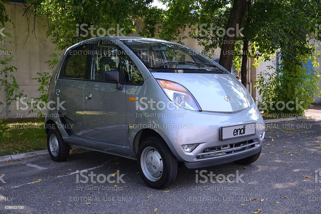 Tata Nano on the street stock photo
