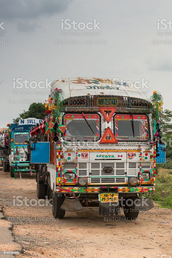 Tata truck parked along the road. stock photo