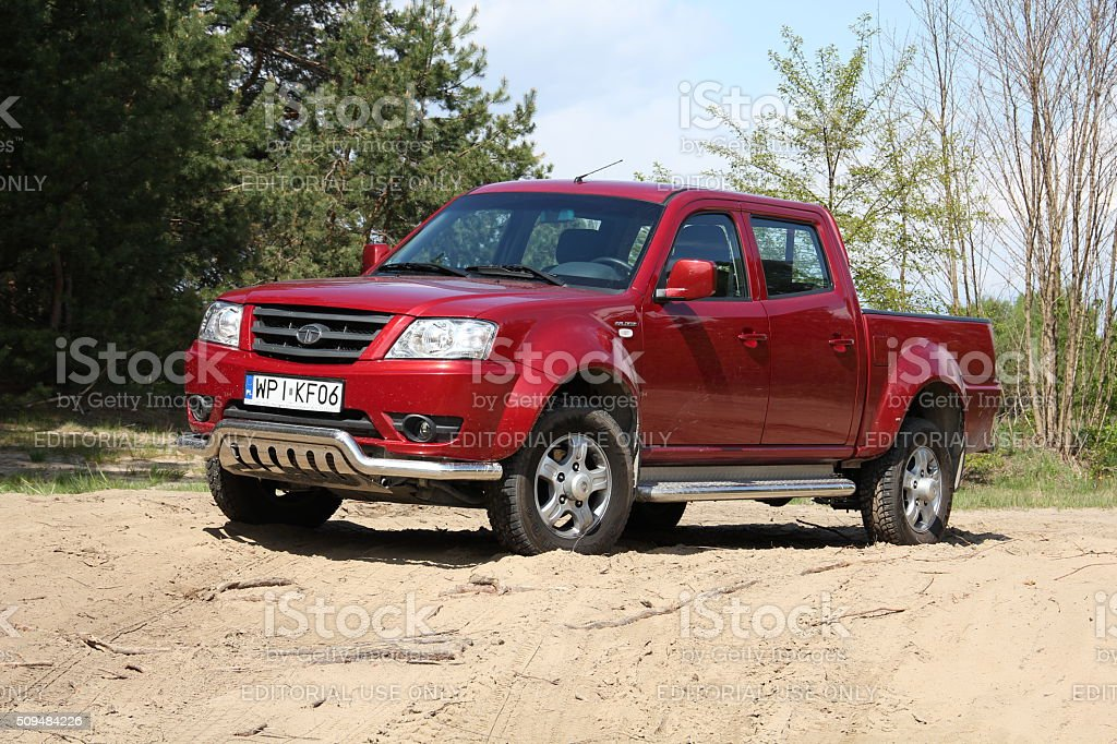 Tata Xenon pick-up on the unmade road stock photo