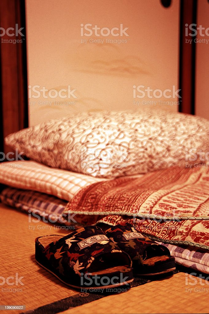 tatami and slippers royalty-free stock photo