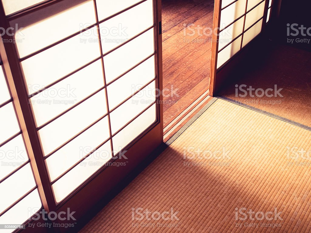 Tatami Floor with Door panel Japanese style room detail stock photo