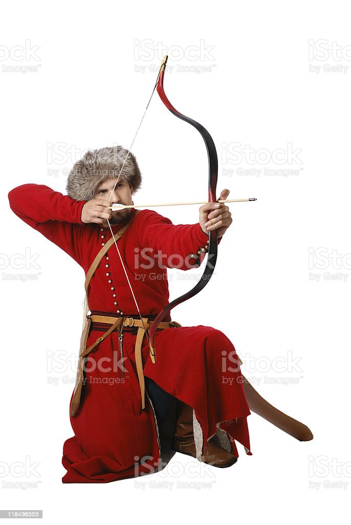 Tatar warrior with a bow. The living history. stock photo