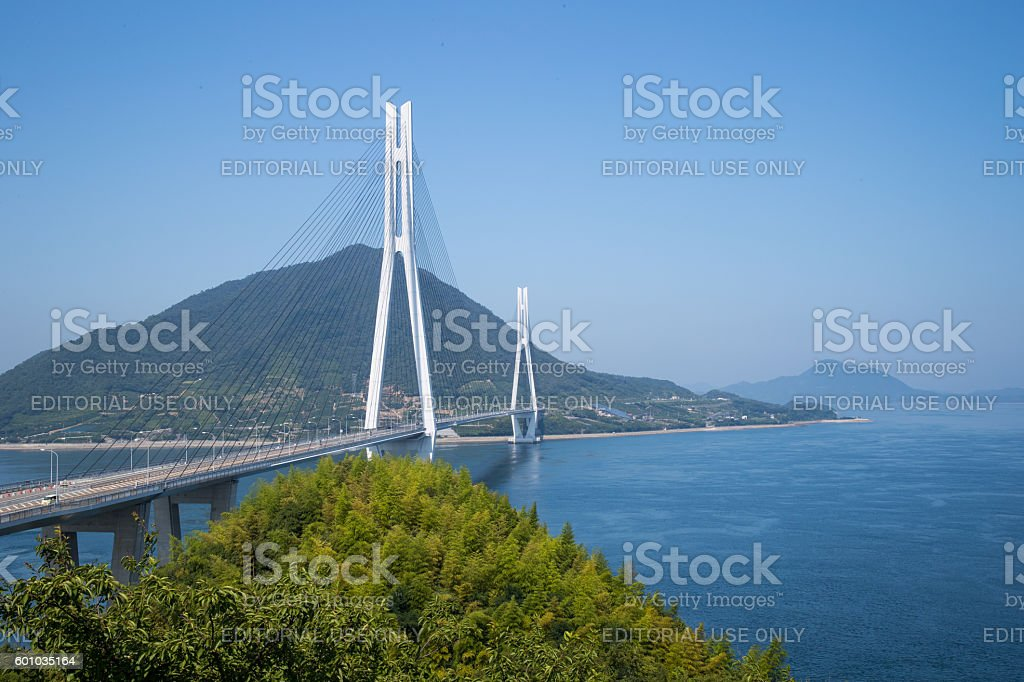 Tatara Bridge in Seto Inland Sea, Japan stock photo